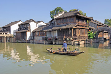 Fishing with cormorants at Shanghai Xizha old village