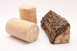 Feuerholz und Kaminbriketts vor weissem Hintergrund
