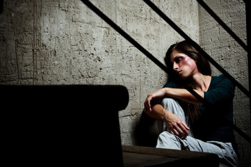 Used and abused; domestic violence concept