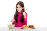 advice little girl for healthy food poster