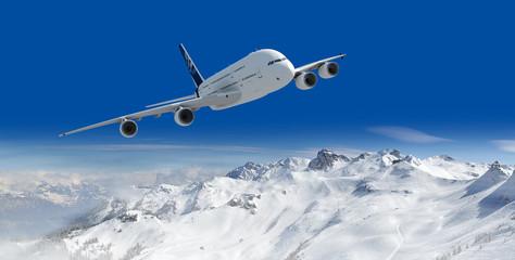 passagierflugzeug und über den alpen