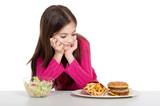 little girl prefer hamburger unhealthy food poster