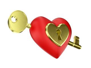 Cuore rosso con serratura e chiave