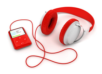 Casque audio et baladeur sur fond blanc 1