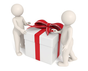 3d men opening a gift box