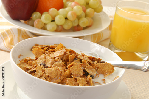 Breakfast cereal and fruit