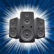 speaker set with blue star burst background