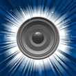 speaker with blue star burst background
