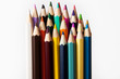 Colored pencils isolated in white