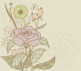 Beautiful nature retro decoration flower vector background