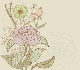 Beautiful nature retro decoration flower vector background