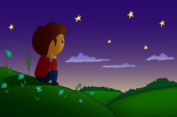 Cartoon vector men rested in night field and hills