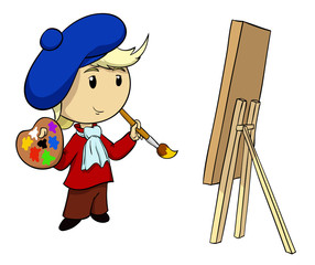 Cartoon vector artist with palette and brush