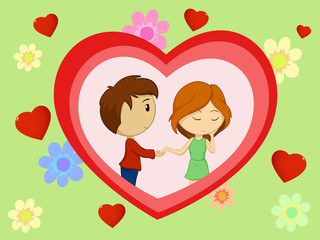 Valentine's day card with couple in heart shape