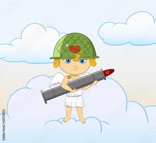 Cartoon funny cupid with armed valentine bazooka