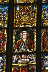 Stained glass with  J.S. Bach, St. Thomas Church, Leipzig