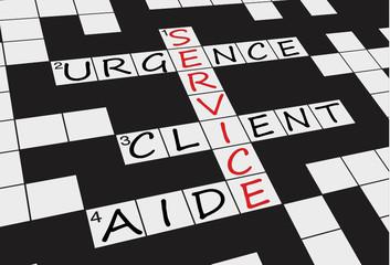 """Grille Mots Croisés """"SERVICE"""" (clients clientèle aide contact)"""