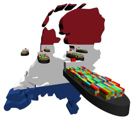 Netherlands map flag with container ships illustration