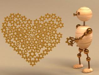 wood man mechanic heart