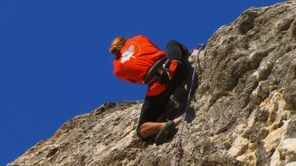 Rock climber reaches top