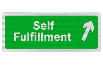 Photo realistic 'path to self fulfillment' sign, isolated