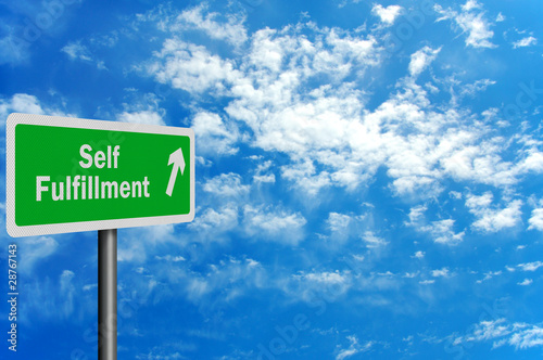 Photo realistic 'route to self fulfillment' sign