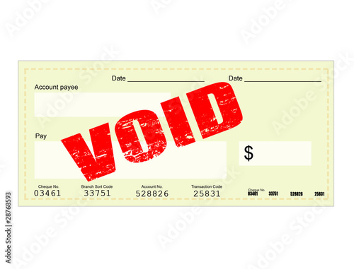 Blank Check and Void stamp