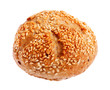 fresh bun with sesame isolated on white