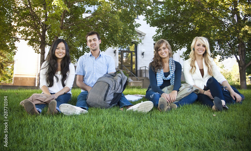 Smiling Group of College Students
