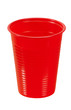 Red plastic cup of water - isolated