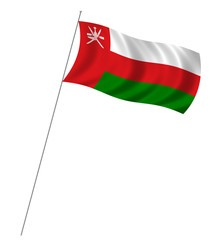 Flag of Oman with pole flag waving over white background