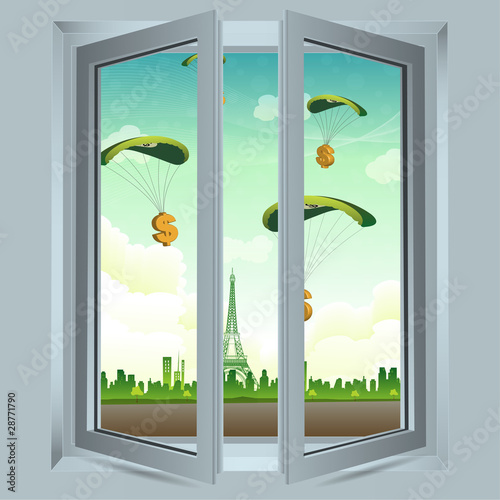 open window with dollar parachute