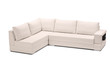 A studio shot of a white leather sofa isolated against white bac