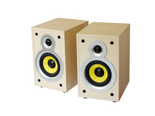 Two wooden speakers