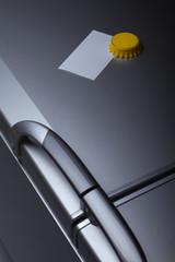 Blank paper on refrigerator door
