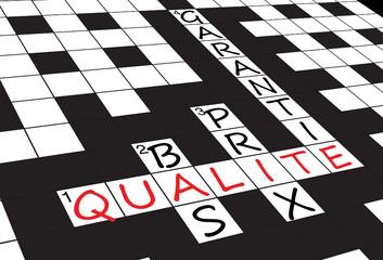 """Grille Mots Croisés """"QUALITE"""" (service garantie qualité prix)"""