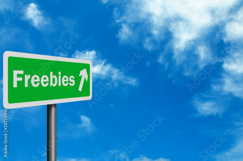 Photo realistic 'freebies' sign with space for text overlay