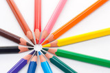 Triangular color pencils circle poster
