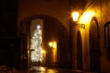 mysterious narrow alley with christmas tree