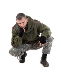 Paramilitary soldier thinking