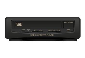 Old Japan video cassette player. Realistic vector illustration.