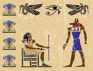 Old egyptian hieroglyphics. Grunge