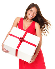 Asian woman with gift
