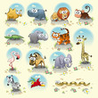 Savannah animals. Vector isolated characters.