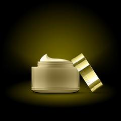 Golden cream container