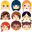 Set of facial expressions of cute girls from ethnic groups