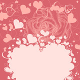 Roses and hearts romantic background