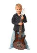Amazing four year old boy holds electric guitar. Isolated on whi