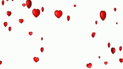 Fliegende Herzen auf weissem Hintergrund