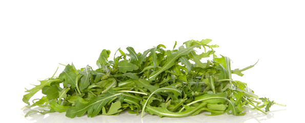 pile green rucola lettuce isolated over white